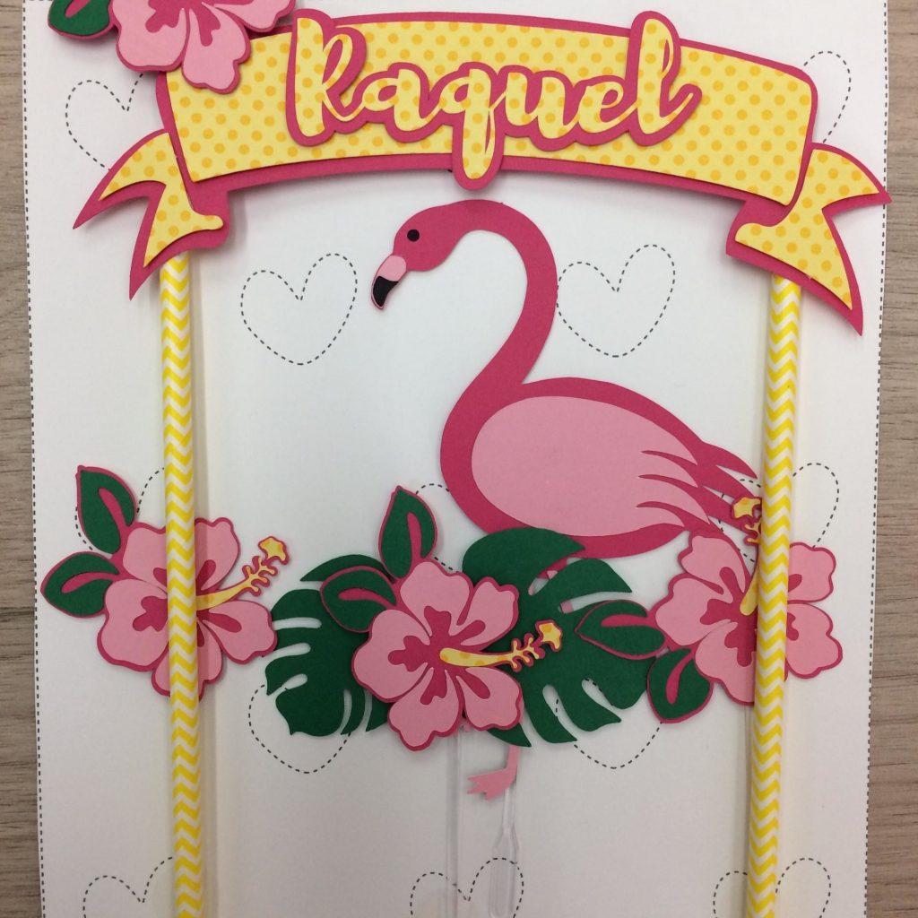 topo de bolo flamingo com flores
