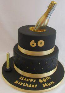 bolo 60 ano dourado