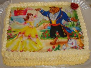 bolo a bela e a fera quadrado