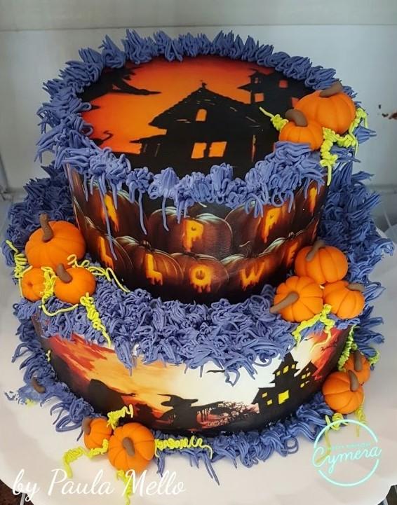 bolo halloween papel arroz
