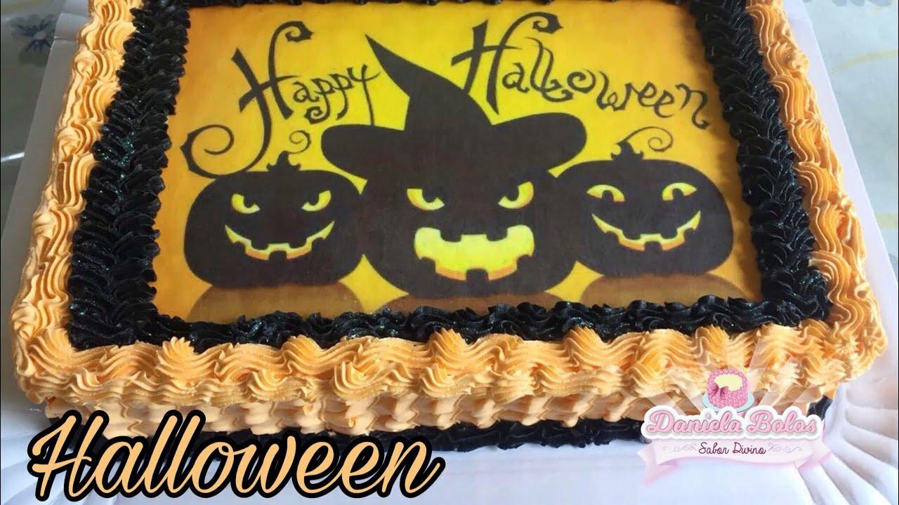 bolo halloween quadrado