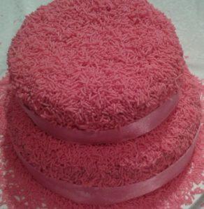 bolo rosa simples
