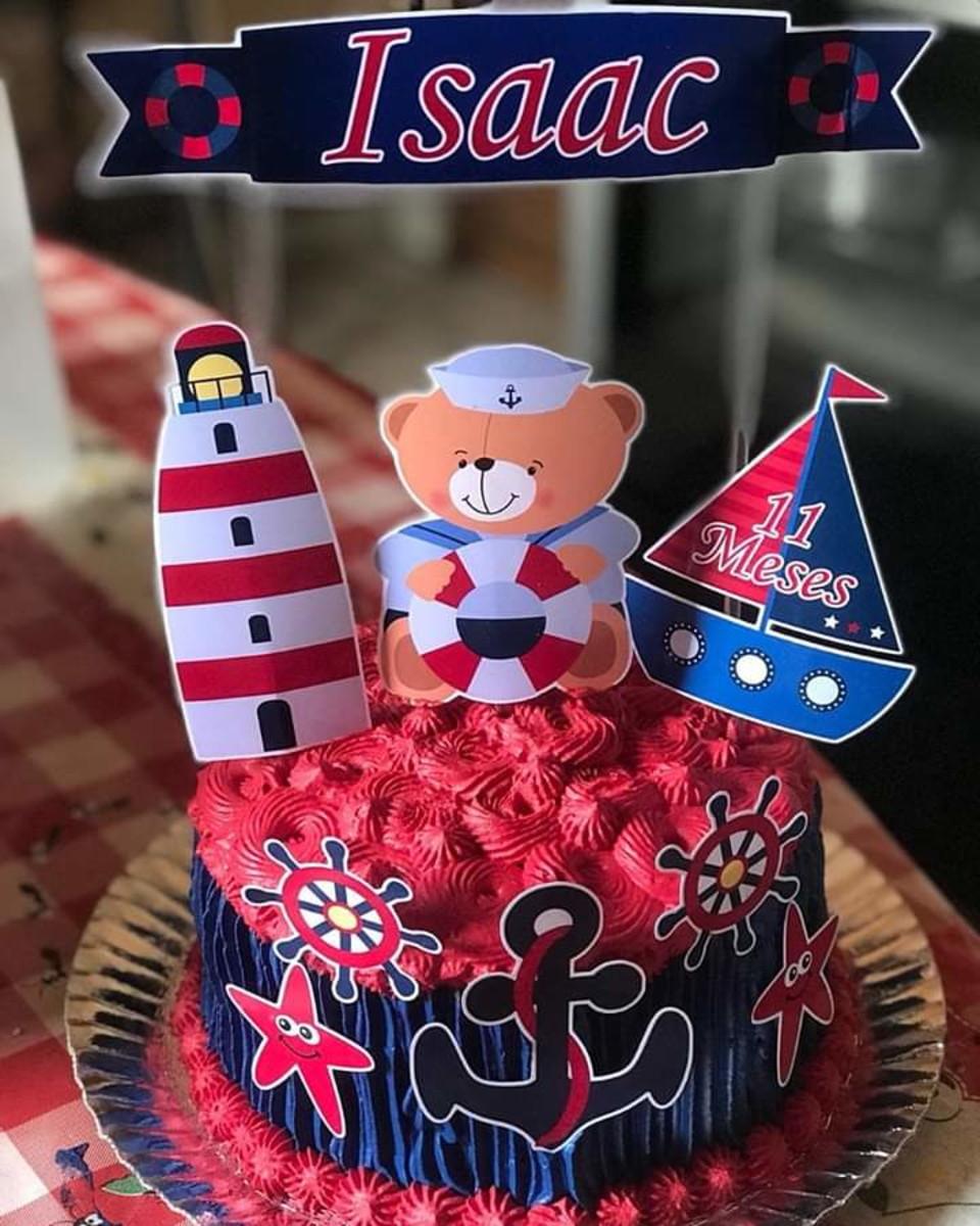 bolo ursinho marinheiro redondo