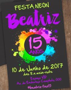 convite 15 anos neon