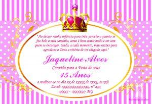 convite 15 anos princesa