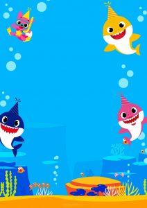convite baby shark em branco