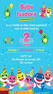 convite baby shark on-line