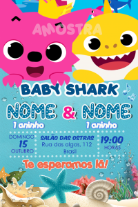 convite baby shark on line