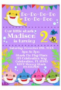 convite baby shark simples
