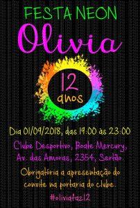 convite festa neon infantil