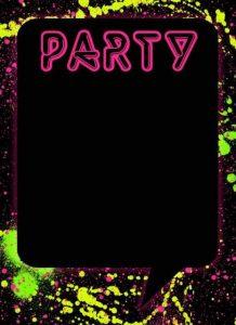convite festa neon para imprimir