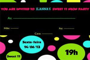 convite festa neon para editar