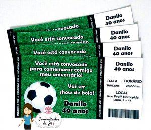convite de futebol ingresso