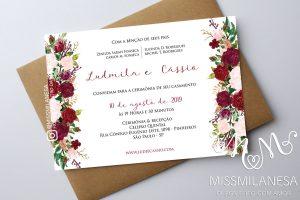 Convite casamento rústico Floral