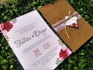 Convite casamento rústico Marsala