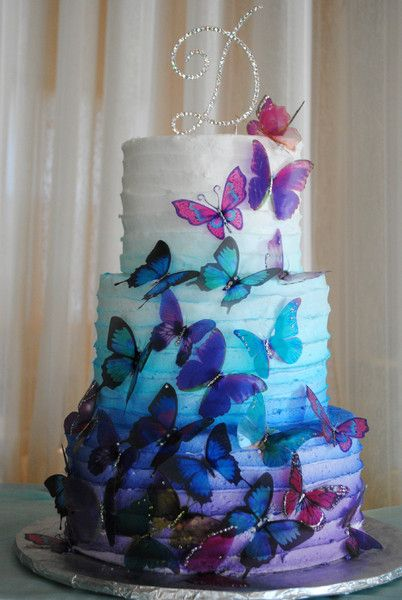 bolo borboleta Azul