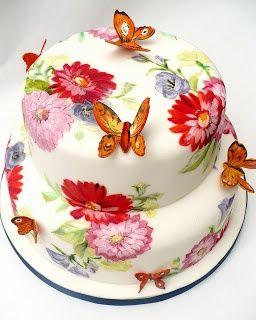 bolo borboleta Flores