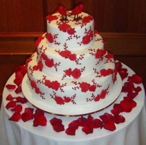 bolo de casamento simples Vermelho e branco