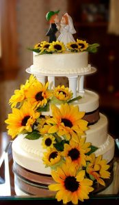 bolo de casamento girassol