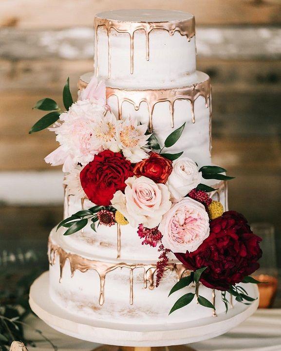 bolo de casamento rustico Chic