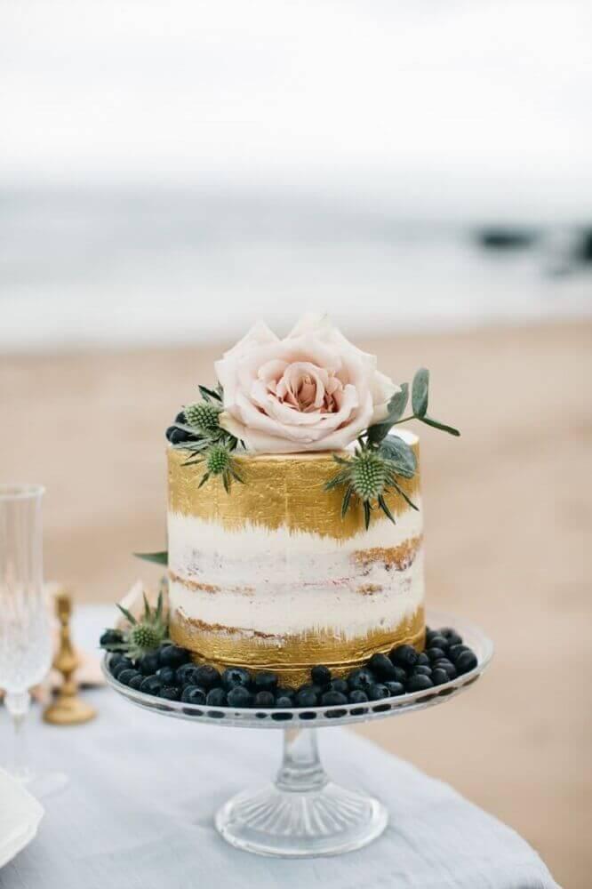 bolo de casamento rustico Simples