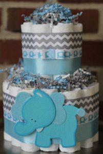 bolo de fraldas elefantinho