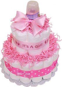 bolo de fraldas rosa