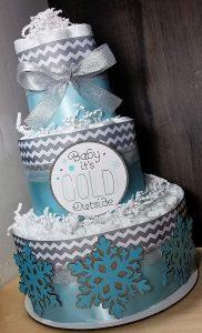 bolo de fraldas azul