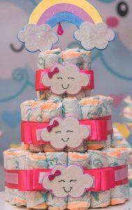 bolo de fraldas chuva de amor