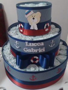 bolo de fraldas urso marinheiro