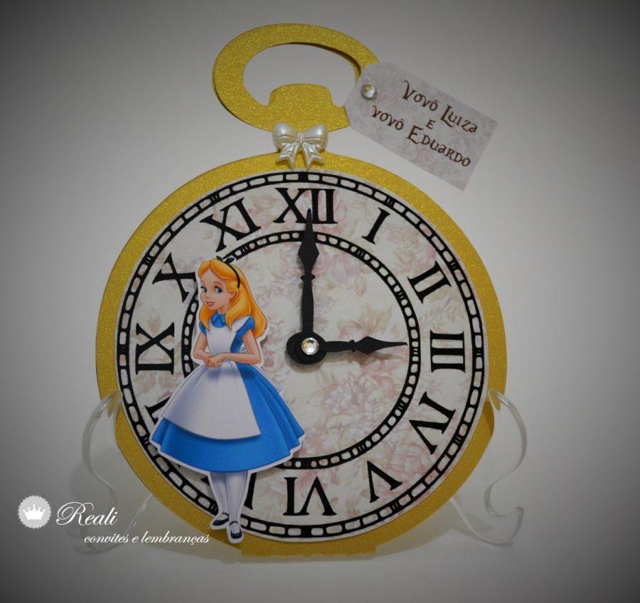 convite alice no país das maravilhas Relógio