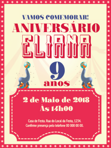 convite aniversário infantil Simples