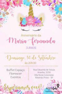 convite aniversário infantil Unicórnio