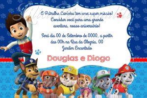 convite aniversário infantil Patrulha canina