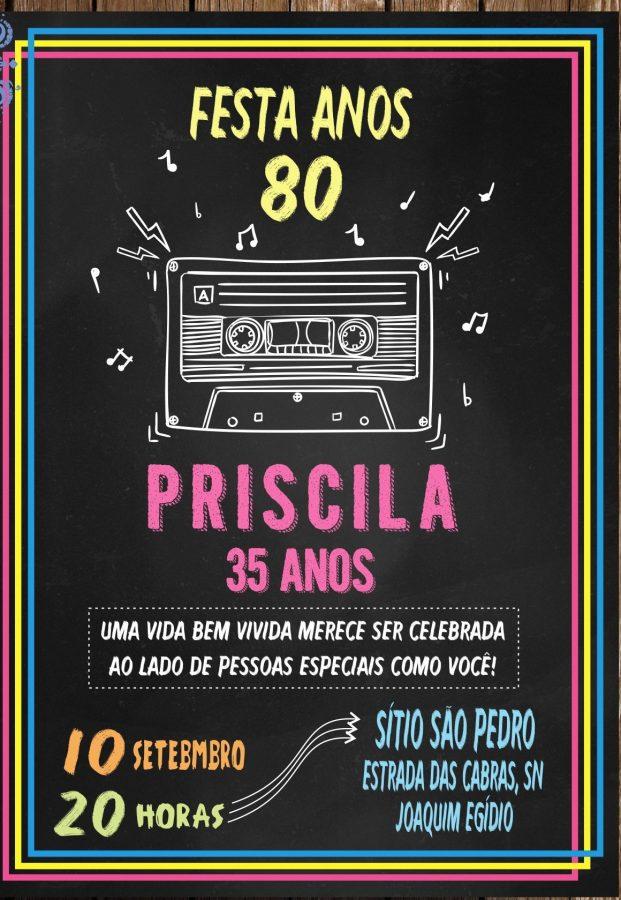 convite anos 80 Aniversário