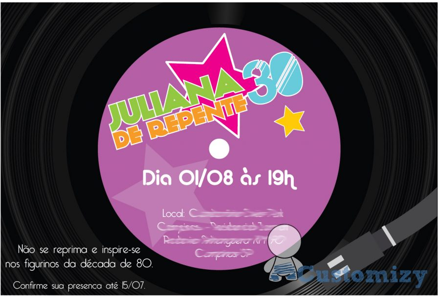 convite anos 80 Disco de vinil