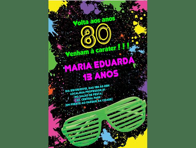 convite anos 80 Virtual