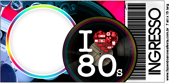 convite anos 80 Imprimir