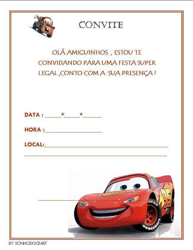 convite carros Editar