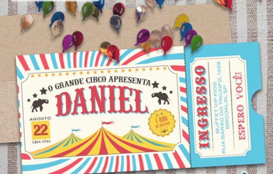 convite circo Azul