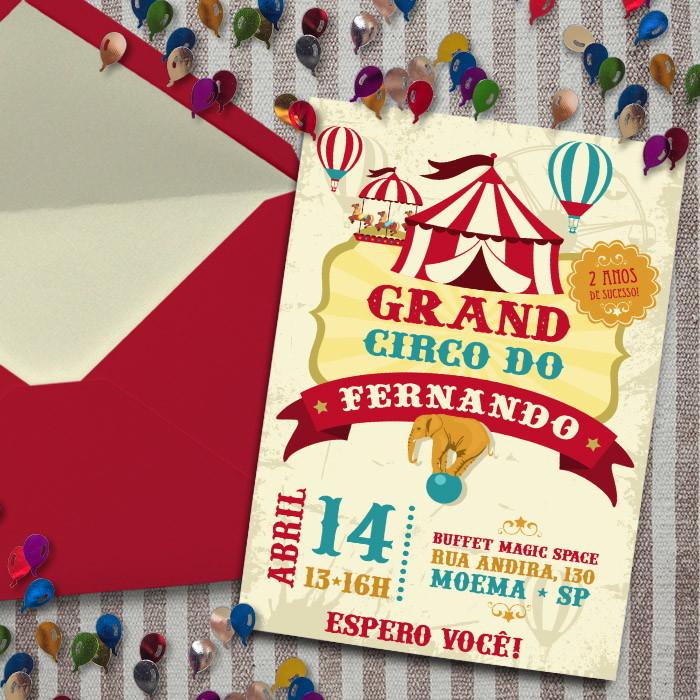 convite circo Vintage