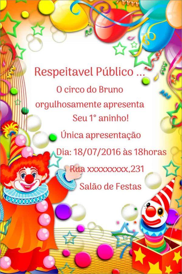 convite circo 1 Ano