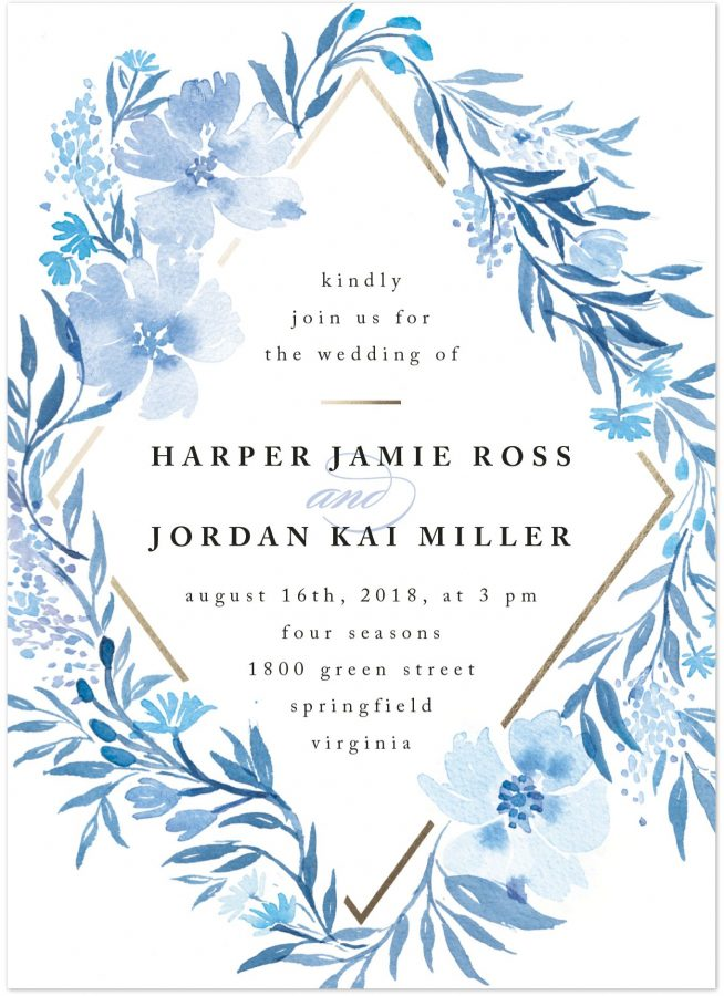 Convite floral Azulconvite floral Azul