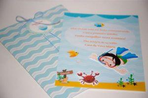 convite fundo do mar Luxo