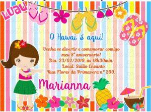 convite havaiano Feminino