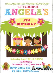 convite havaiano Aniversário