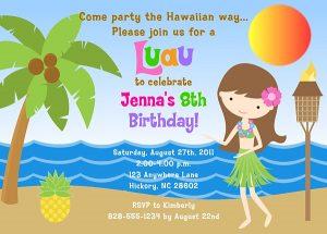 convite havaiano Infantil