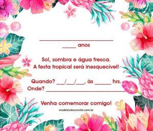 convite havaiano Imprimir
