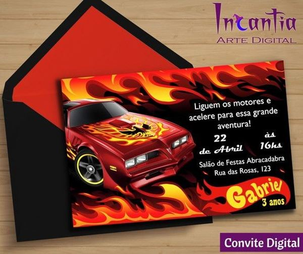Convite Hot Weels On lineconvite hot weels On line