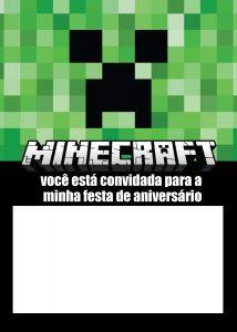 convite minecraft Para imprimir